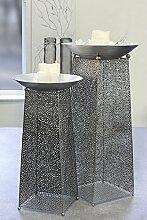 Deko-Säule Purley Metall antik-silber Schale Ø 50 cm Höhe 95 cm, Gartendeko