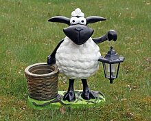 Deko-Schaf mit LED-Lampe und Pflanztopf, Dekofigur Tierfigur