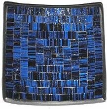 Deko - Schale Glasmosaik eckig 15 cm, blau -