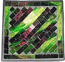 Deko - Schale Glasmosaik eckig 15 cm, grün/gold /