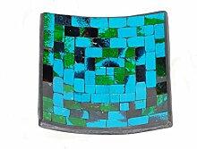 Deko - Schale Glasmosaik eckig 15 cm, hellblau -