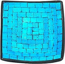 Deko - Schale Glasmosaik eckig 15 cm, hellblau