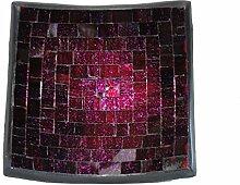 Deko - Schale Glasmosaik eckig 15 cm, pink glitter