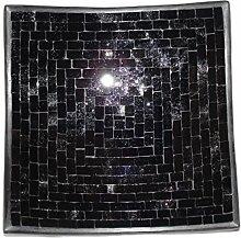 Deko - Schale Glasmosaik Schale eckig schwarz
