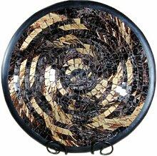Deko - Schale Glasmosaik Schale rund gold rosigbraun kupfer 30cm