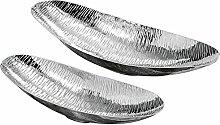 Deko-Schale Ties S/2 L41-52cm silber Aluminium