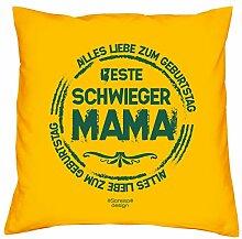 Deko-Sofa-Couch-Kissen mit Füllung Motiv Beste Schwiegermama als Geburtstagsgeschenk Geschenke für Ihre Schwiegermama Schwiegermutter Farbe: gelb