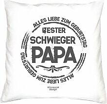Deko-Sofa-Couch-Kissen mit Füllung Motiv Bester Schwiegerpapa als Geburtstagsgeschenk Geschenke für Ihren Schwiegervater Farbe: weiß