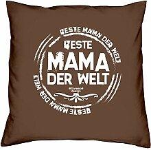 Deko-Sofa-Kissen mit Füllung und gratis Urkunde Beste Mama der Welt als Geburtstagsgeschenk oder Weihnachtsgeschenk Farbe:braun