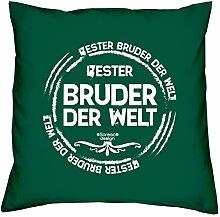 Deko-Sofa-Kissen mit Füllung und gratis Urkunde Bester Bruder der Welt als Geburtstagsgeschenk oder Weihnachtsgeschenk Farbe:dunkelgrün