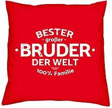 Deko-Sofa-Kissen mit Füllung und gratis Urkunde Bester großer Bruder der Welt als Geburtstagsgeschenk oder Weihnachtsgeschenk Farbe:ro