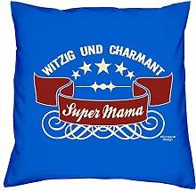 Deko-Sofa-Kissen mit Füllung und gratis Urkunde Super Mama als Geburtstagsgeschenk oder Weihnachtsgeschenk Farbe:royal-blau