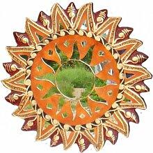 Deko-Spiegel MOSAIK BRAUN, 4 Größen, Wandschmuck, rund, verziert, Grösse:40 cm
