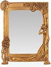 Deko Spiegel Wandspiegel Jugendstil gold verziert Polyresin 34,4 cm