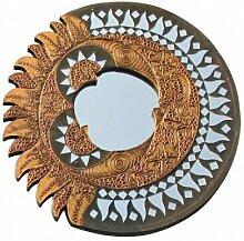 Deko Spiegel Wandspiegel Sonne Mond Feng Shui Symbol aus Holz, Ø 40 cm, Dekospiegel Wanddeko