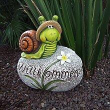 Deko-Stein Willkommen Frosch Schnecke Schildkröte Gartendeko Eingangsbereich, Variante:Schnecke