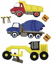 Deko-Sticker: Baufahrzeuge, m. Klebepunkt, SB-Btl
