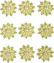Deko-Sticker: Papierblüten m. Halbperle,