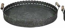 Deko-Tablett aus Zink Durchmesser 42 cm dunkelgrau