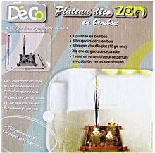 Deko-Tablett, Zen, Bambus, Kerzen, Kieselsteine