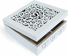 Deko Teebox aus Holz mit Deckel Schnitzerei 4 Fächern weiß, 18 x 18 x 7 cm, Teedose Gewürzdose Holzbox im Vintage Landhausstil
