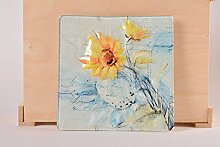 Deko Teller handgefertigt Wandbild Glas Geschenkidee fur Frau Sonnenblumen