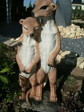 Deko Tier Figur Ermännchen Garten Deko XXL große Erdmännchen kuscheln wetterfest handbemalt 50 cm hoch 2 Figuren