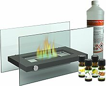 Deko Tischkamin / Glaskamin + 1L Bio-Ethanol + 4x