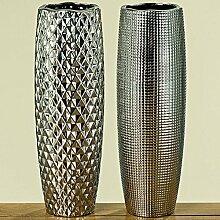 Deko-Vase Manea H45cm D15cm Steingut silber Dekoration Blumenvase Tischvase Bodenvase Modern