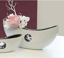 Deko Vase, Schale GRENOBLE B. 29cm H. 12cm weiß silber Keramik Casablanca (19,95 EUR / Stück)