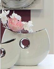 Deko Vase, Schale GRENOBLE H. 18cm B. 25cm weiß silber Keramik Casablanca (22,95 EUR / Stück)
