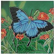 Deko-Wandfliese mit blauem Schmetterling in