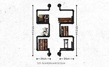 Deko Wandregal Wanddekoration LOFT Eisen Bücherregal Wand Regal Einbauschrank Standfuß Badezimmer Massivholz Regale Küchenhalter Iron Pipe Plank ( Farbe : B )