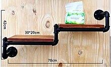 Deko Wandregal Wanddekoration LOFT Eisen Bücherregal Wand Regal Einbauschrank Standfuß Badezimmer Massivholz Regale Küchenhalter Iron Pipe Plank ( größe : B )