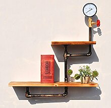 Deko Wandregal Wanddekoration LOFT Eisen Bücherregal Wand Regal Einbauschrank Standfuß Badezimmer Massivholz Regale Küchenhalter Iron Pipe Plank