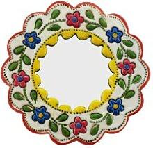 Deko-Wandspiegel klein gelb und weiß - rund