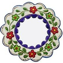 Deko-Wandspiegel klein lila und weiß - rund