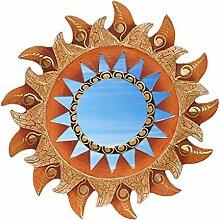 Deko Wandspiegel Sonne aus Albesia Holz, braun gold, Ø 30cm, Wanddeko Dekospiegel Spiegel Sonnenspiegel Solarplexus handgefertig