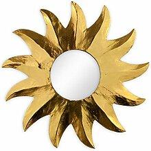 Deko Wandspiegel Sonne aus Albesia Holz gold, Ø 40cm, Wanddeko Dekospiegel Spiegel Sonnenspiegel Solarplexus handgefertig