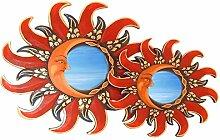 Deko Wandspiegel Sonne Mond aus Albesia Holz, rot braun, Ø 30cm, Wanddeko Dekospiegel Spiegel Sonnenspiegel Solarplexus handgefertig