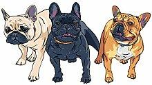 dekodino® Wandtattoo Hund Bulldogge weiß schwarz