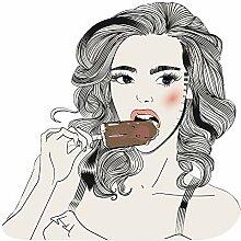 dekodino® Wandtattoo Modernes Design Frau mit Eis