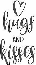 dekodino® Wandtattoo Spruch Hugs and kisses