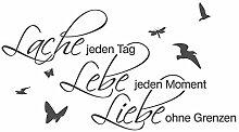 dekodino® Wandtattoo Spruch Motto Lache Lebe