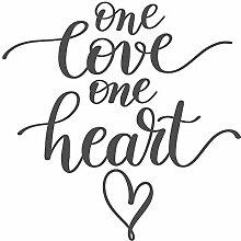 dekodino® Wandtattoo Spruch One love one heart