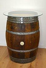 Dekofass, Stehtisch aus echtem Weinfass, Gartentisch mit Glas -Tischplatte D 75 cm - Fass in verschiedenen Variationen (Fass natur geölt)