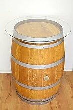Dekofass, Stehtisch aus echtem Weinfass, Gartentisch mit Glas -Tischplatte D 75 cm - Fass in verschiedenen Variationen (Fass geschliffen + geölt mit silbernen Ringen)
