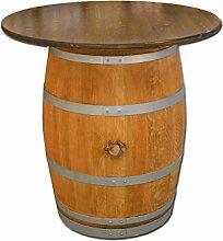 Dekofass, Stehtisch aus echtem Weinfass, Gartentisch mit großer Tischplatte nussbaumfarben lasiert D100 cm - Fass geschliffen und geölt mit silbernen Ringen