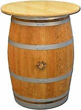 Dekofass, Stehtisch aus echtem Weinfass, Gartentisch mit Tischplatte D80 cm - Fass geschliffen und geölt mit silbernen Ringen (Tischplatte natur lackiert)