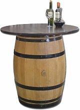 Dekofass, Stehtisch aus echtem Weinfass, Gartentisch mit Tischplatte Nussbaum D100 cm - Fass geschliffen und lackier